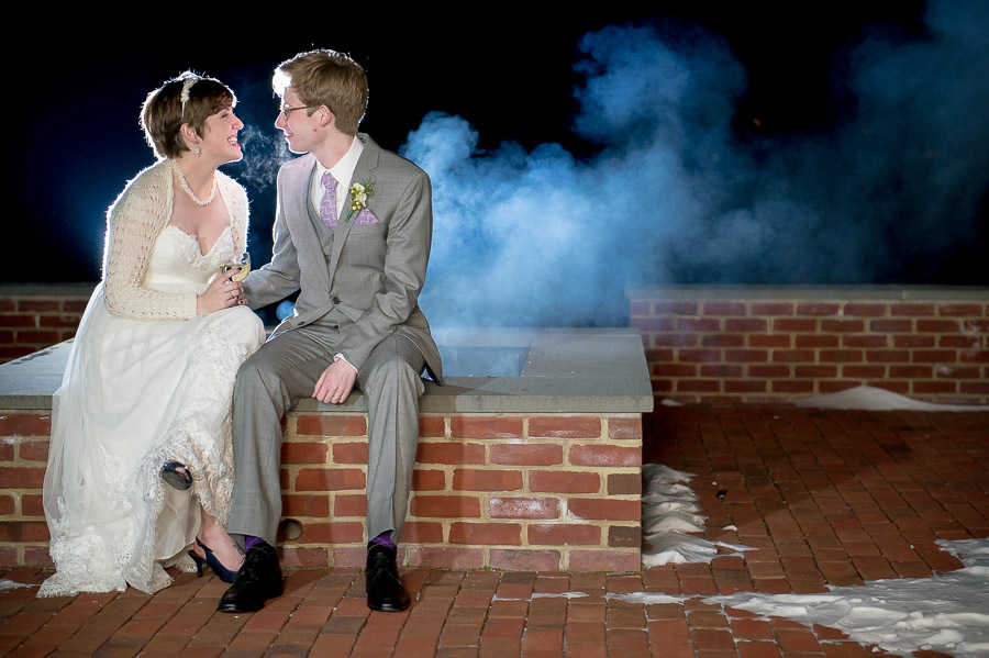 Brr! Chilly outdoor winter wedding portraits at King Family Vineyard in Crozet, VA