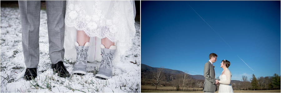 Snowy bride and groom portraits at King Family Vineyard January wedding