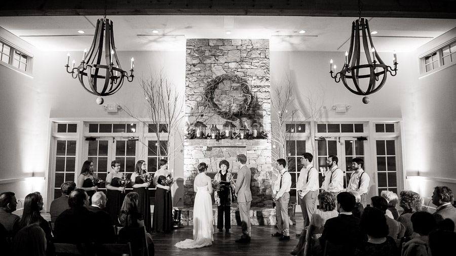 Beautiful indoor wedding ceremony at King Family Vineyard