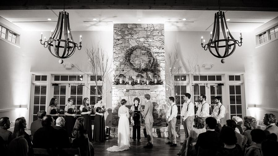 Beautiful indoor wedding ceremony at King Family Vineyard