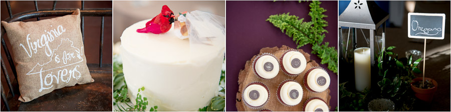 Cute, fun, Virginia wedding details with cardinals, cupcakes and spice signs.