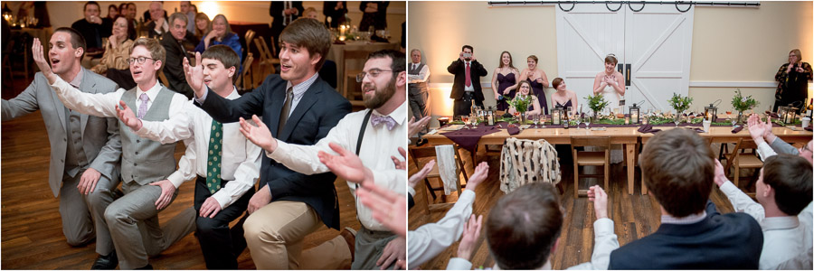 Very sweet groom and friends singing to bride at King Family Vineyard winter wedding