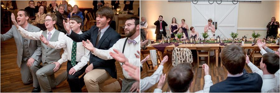 Very sweet groom and friends singing to bride at King Family Vineyard winter wedding