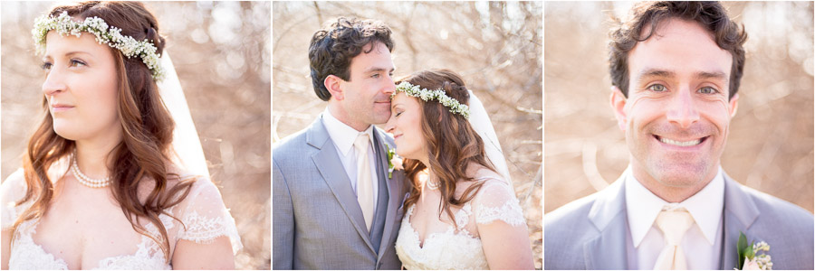 Sunny, bright, timeless portraits of bride and groom at Laurel Hall wedding in Indiana