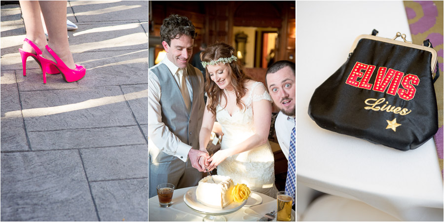 Hot pink shoes, funny cake photobomb, and great Elvis change purse at Indy wedding