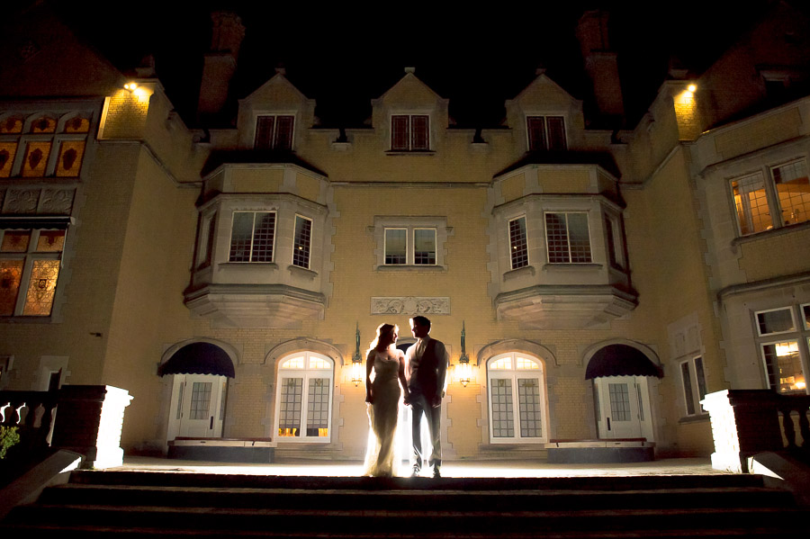 Creative and dramatic nighttime portrait at Laurel Hall wedding in Indianapolis