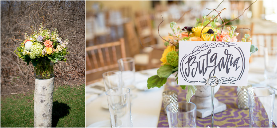 Beautiful florals and wedding details of travel themed wedding at Laurel Hall