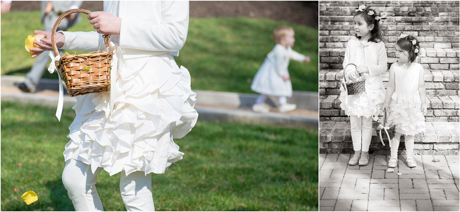 Cute flower girls at spring Laurel Hall wedding in Indianapolis, Indiana
