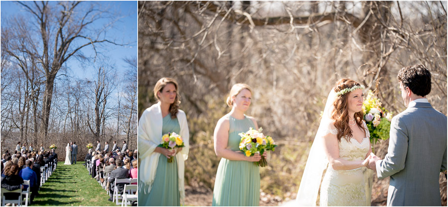 Beautiful spring outdoor wedding ceremony at Laurel Hall in Indianapolis