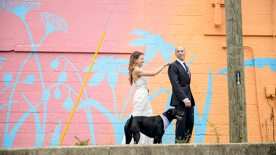 Colorful, urban, wedding first look with a cute dog by TALL+small Photo.