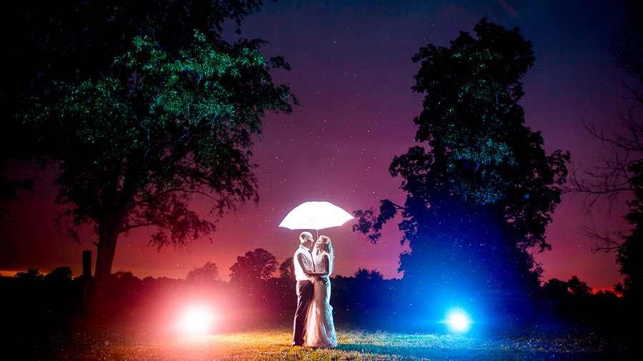 Amazing, colorful, and creative nighttime wedding portrait at Sycamore Farm in Bloomington by TALL+small Photography.