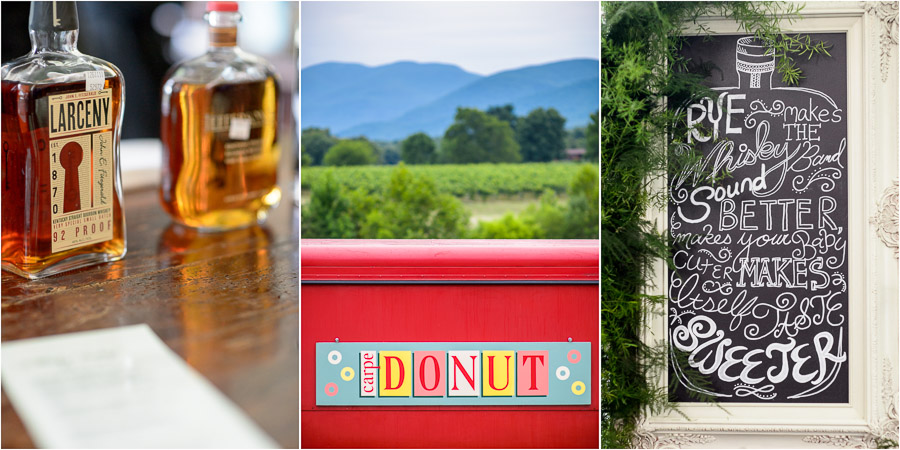 Bourbon bar and donut truck at awesome wedding near Charlottesville, VA