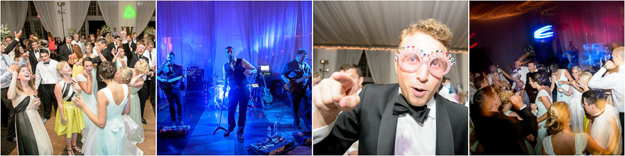 Colorful and fun dance party at Veritas Vineyards wedding with live band