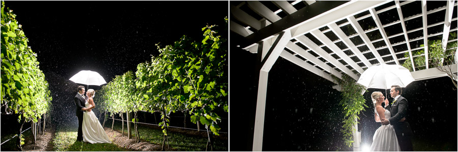Lovely rainy nighttime portraits at Southern winery wedding