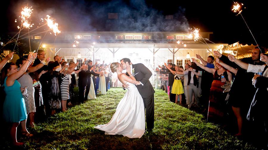 Gorgeous sparkler exit photo from Veritas Vineyards wedding near Charlottesville, VA