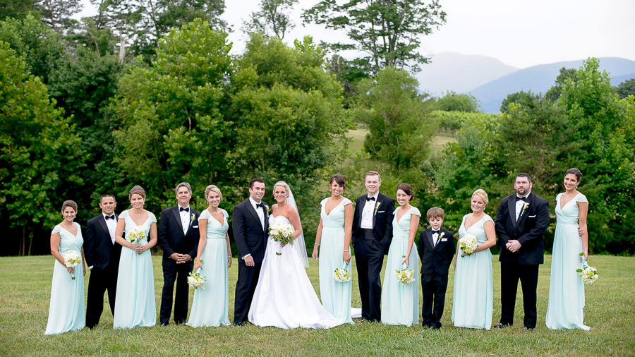 Seafoam green wedding party with gorgeous mountain scenery  at Veritas Vineyards