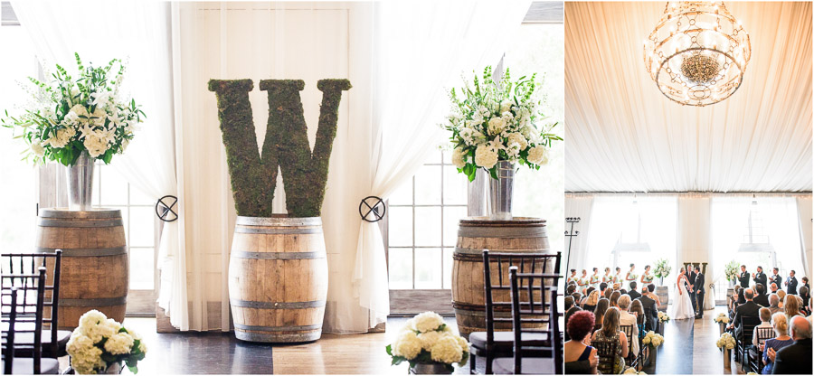 Wine barrel details at winery wedding ceremony near Charlottesville, VA