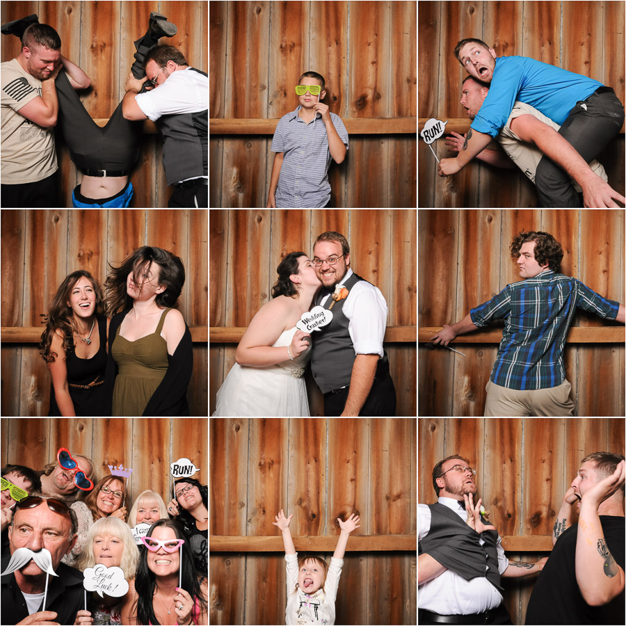 Super fun photobooth photos from Wea Creek Orchard wedding in Lafayette, Indiana