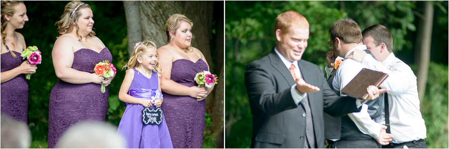 Sweet emotions at Wea Creek Orchard wedding outdoor ceremony
