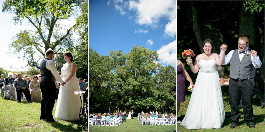Beautiful and touching outdoor wedding ceremony at Wea Creek Orchard in Lafayette, Indiana