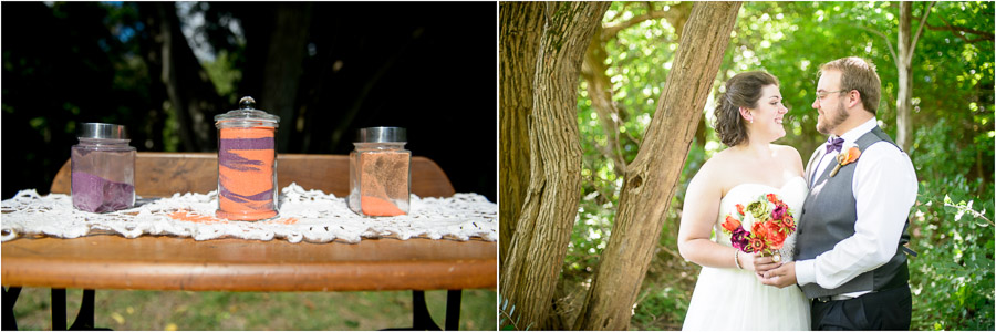 Fun, colorful unity sand jars and bride and groom portrait in woods at Indiana wedding