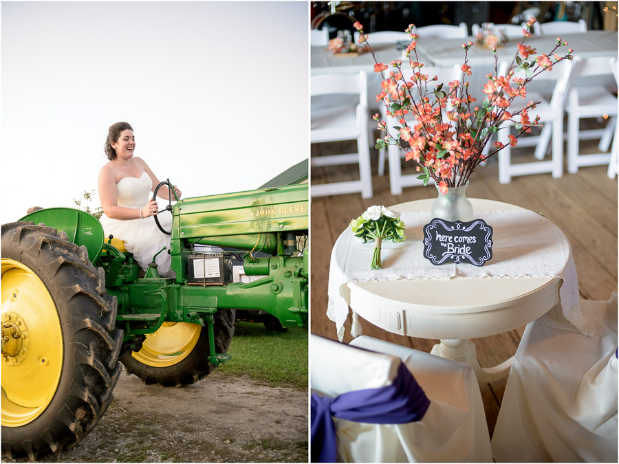 Funny pic of bride on tractor and colorful wedding reception details