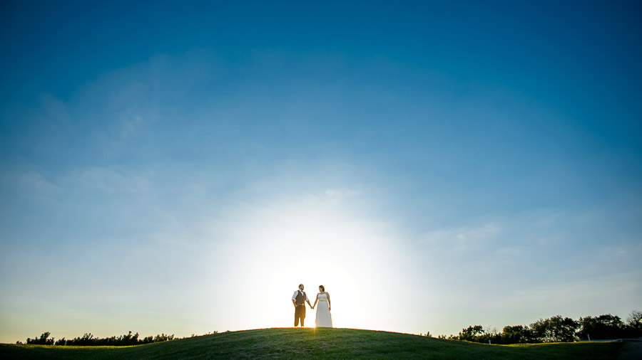 Gorgeous sunset bride and groom portrait at orchard wedding in Lafayette, Indiana