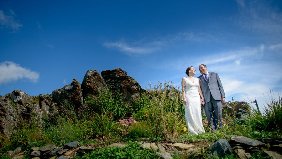 Beautiful views at Wintergreen Resort wedding with bride and groom