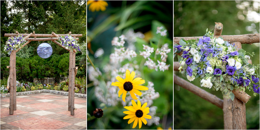Beautiful and colorful details of wedding arch at Wintergreen Resort wedding