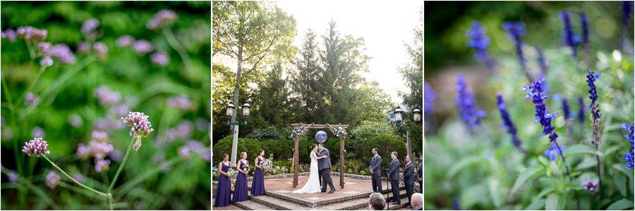 Creative and colorful wedding flowers and beautiful wedding ceremony at Wintergreen Resort