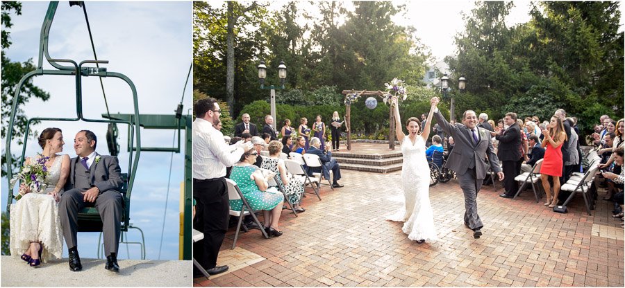 Fun ski lift photo and ceremony photography by Tall and Small at Wintergreen Resort