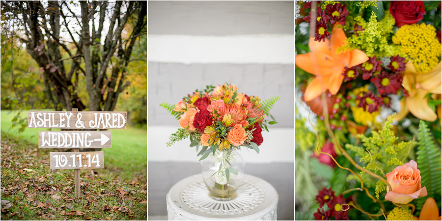 Colorful, fall details at Brown County State Park wedding