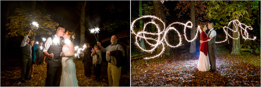 dramatic and romantic wedding exit photos with sparklers