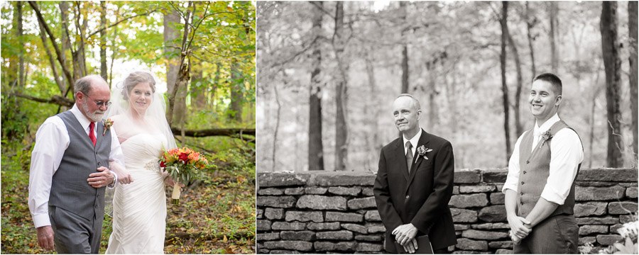 Romantic first look during outdoor wedding ceremony in Brown County Indiana