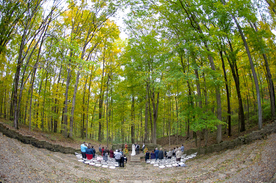 Dramatic and beautiful wedding ceremony at amphitheater in Brown County State Park