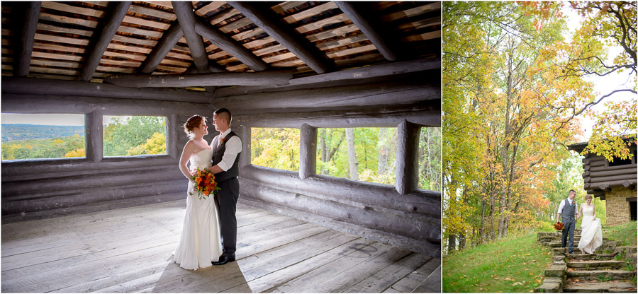 Beautiful and creative portraits of bride and groom around Brown County State Park