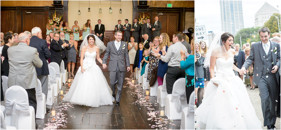 pretty, candid, wedding photos of bride and groom exit at Sanctuary on Penn