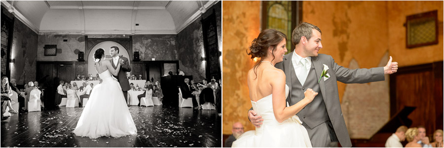 Sweet moments during first dance at downtown Indianapolis wedding