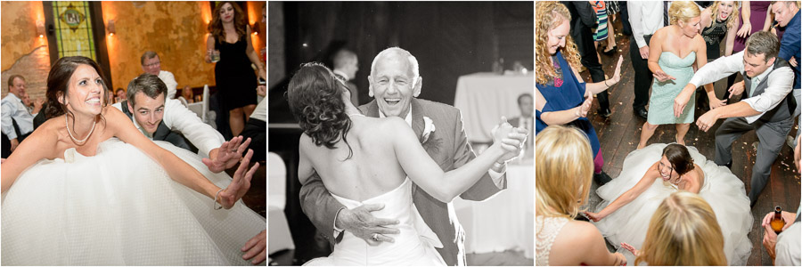 Bride and groom gettin' down on the dance floor at Sanctuary on Penn wedding