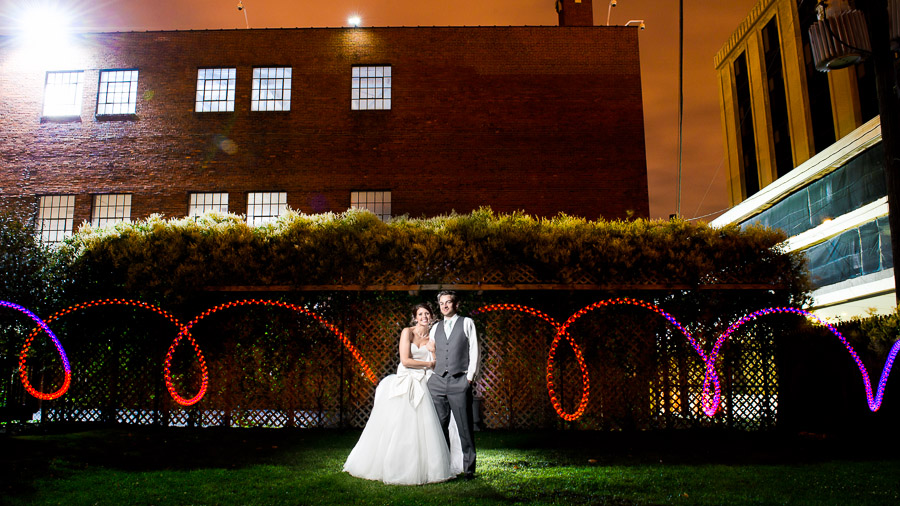 Fun, colorful, quirky, light painting at Sanctuary on Penn wedding