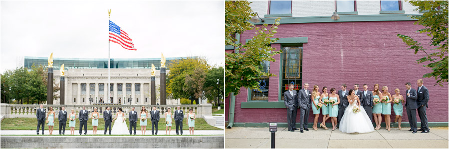 Fun, quirky, downtown Indianapolis wedding party photos.