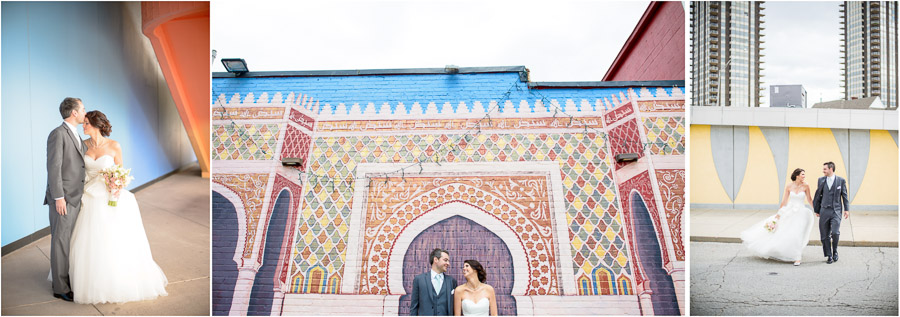 Colorful, hip, bride and groom portraits around downtown Indianapolis