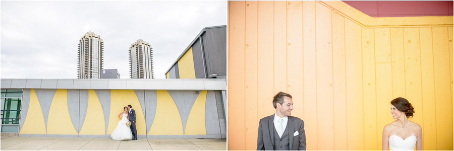 Colorful, quirky, dramatic, urban, bride and groom portraits