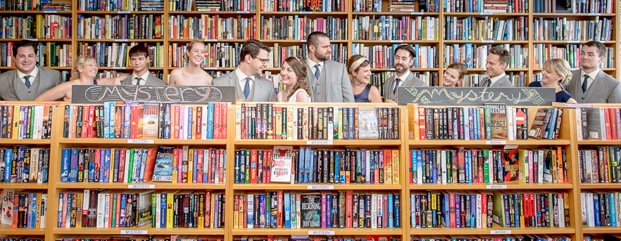 Funny bridal party photo inside Indy Reads Bookstore by TALL+small.