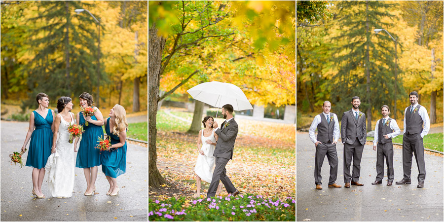 Fun smiles and fall leaves, wedding party pics in Indianapolis