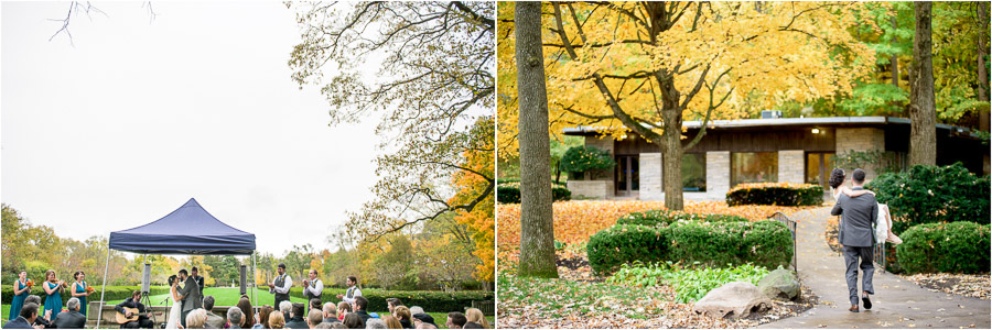 Sweet moments at autumn Butler University wedding ceremony