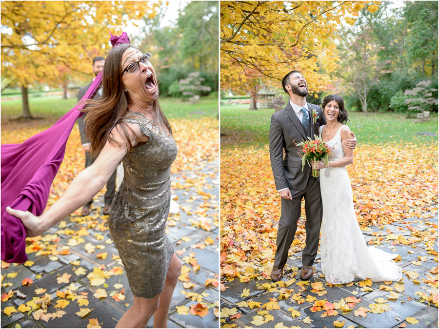 Hilarious mother of the groom photobomb at Indiana fall wedding