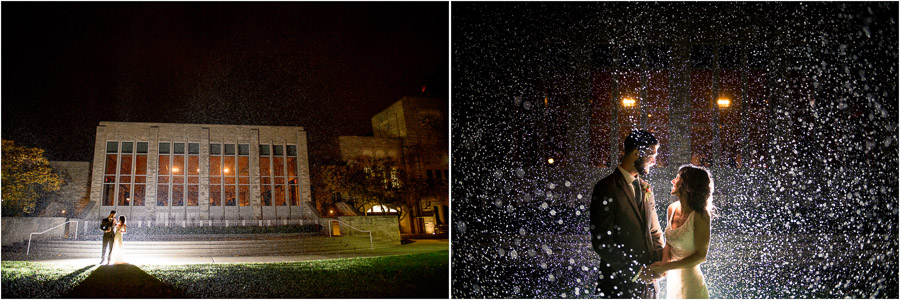Fun, creative, quirky, rainy, wedding photography at Butler University