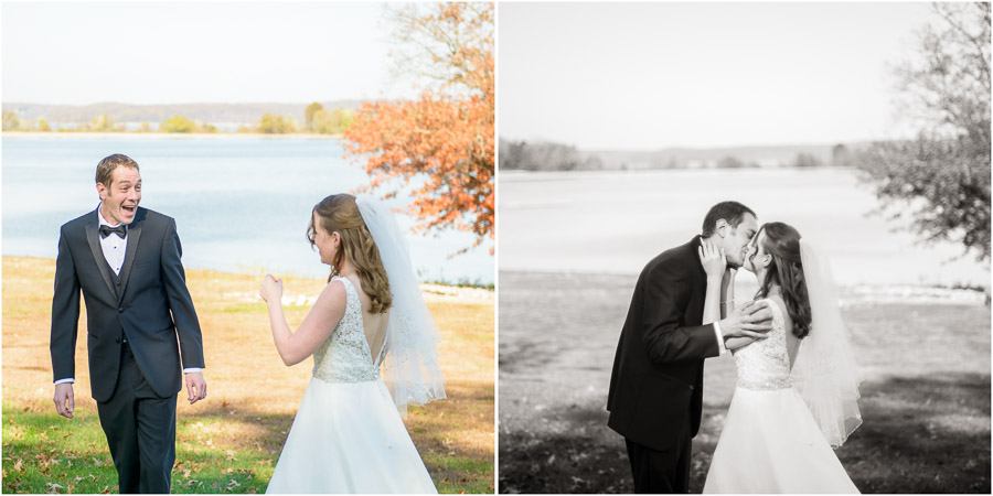 Sweet bride and groom first look at Lake Monroe wedding
