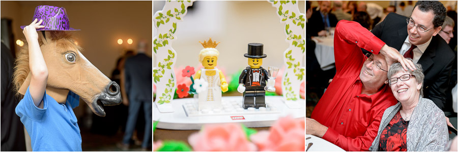 Cute and funny wedding guests and lego bride and groom cake topper